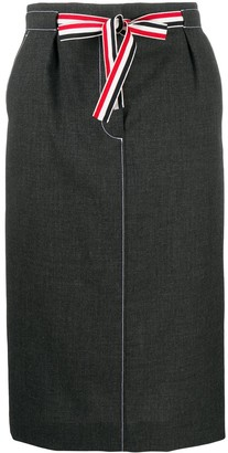 Thom Browne Tie-Waist Wool Skirt
