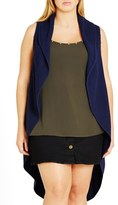 City Chic Sleeveless Drape Front Long Cardigan (Plus Size)
