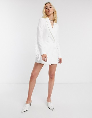 Bershka double-breasted blazer with fringe in white