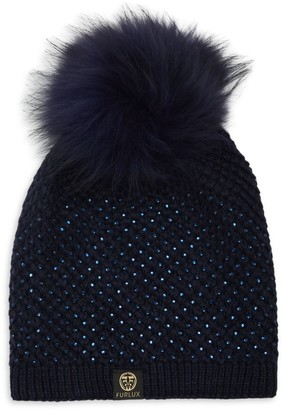 Furlux Embellished Fox Fur Pom-Pom Beanie