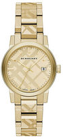 Burberry Goldtone IP Stainless Steel Check Etched Bracelet Watch/34MM