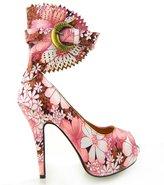 Show Story Multi Color Floral Gladiator Platform Stiletto Heels Pumps,LF30402RD41,9.5US