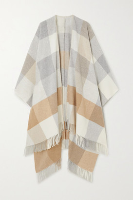 Holzweiler - Net Sustain Fringed Checked Wool And Cashmere-blend Wrap - Camel