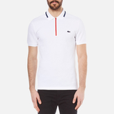 Lacoste Men's 'Made in France' Zip Polo Shirt White/Ship-Red