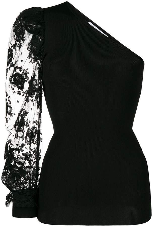 Givenchy one-shoulder lace blouse