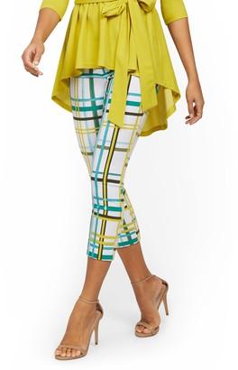 New York & Co. Whitney High-Waisted Pull-On Slim-Leg Ankle Pant - Plaid