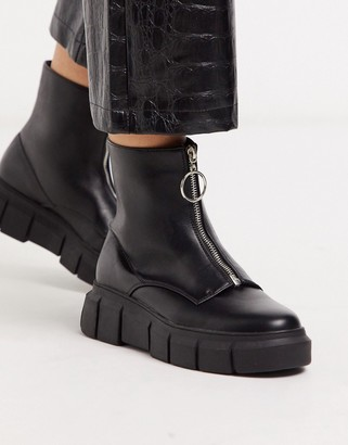 Truffle Collection front zip chunky boots in black