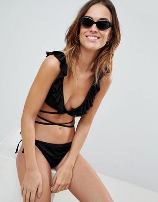 Fashion Union Bay Frill Wrap Bikini Top Black