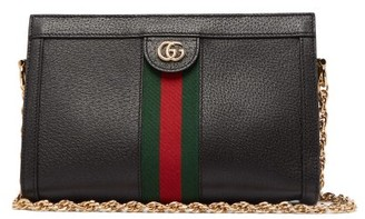 Gucci Ophidia Web-stripe Leather Shoulder Bag - Black