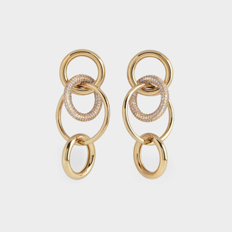Numbering Mixed Links Pave Drop Earrings In 14K Gold Plated Brass And Cubic Zircornia