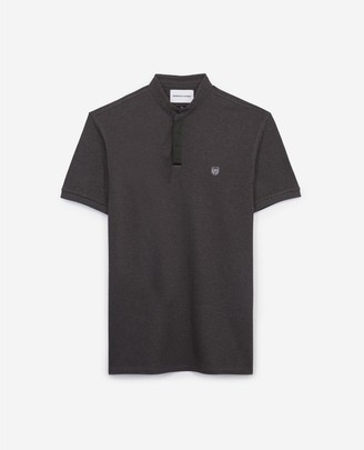 The Kooples Slim grey cotton polo shirt w/officer collar