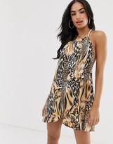 Asos Design DESIGN spliced animal print rope tie layered beach dress