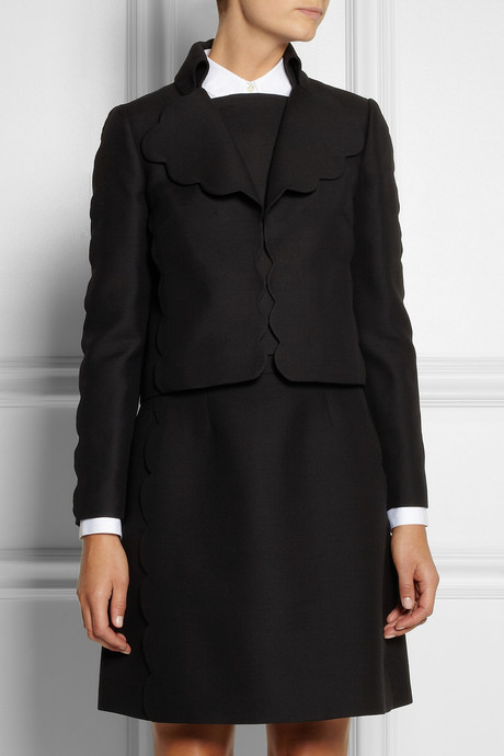 Valentino Scalloped wool and silk-blend jacket