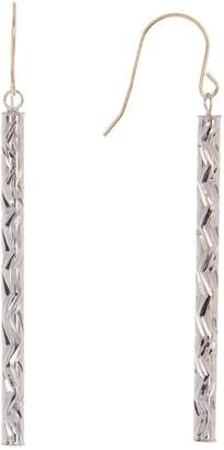Candela Sterling Silver Diamond Cut Stick Dangle Earrings with 14K Yellow Gold Findings