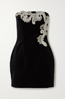 Balmain Crystal-embellished Cotton-velvet Mini Dress - Black