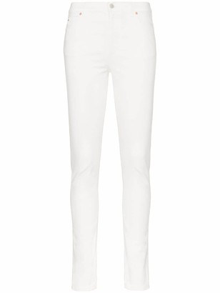 Gucci High Waist Logo Patch Skinny Jeans