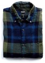 Todd Snyder Slim Fit Exploded Plaid Linen Button Down Shirt in Olive/Navy