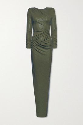 Alexandre Vauthier Draped Crystal-embellished Stretch-jersey Gown - Army green