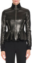 Givenchy Leather Peplum Jacket w/Knit Trim, Black