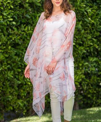 Biz Enterprises Women's Kimono Cardigans PEACH - Peach Floral Sheer Handkerchief Poncho - Women