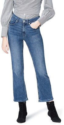 Find. Amazon Brand Women's Flared Mid Rise Stretch Cropped Jeans