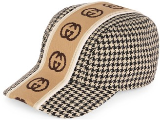 Gucci Houndstooth hat with Interlocking G stripe