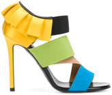 Emilio Pucci ruffled blockcolour sandals - women - Leather/Suede/Spandex/Elastane/Viscose - 35