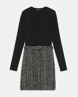 Theory Long-Sleeve Knit Combo Dress in Tweed