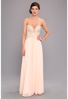 Faviana Glamour Strapless Floral and Mesh Bodice Gown S7325