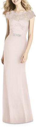 Jenny Packham Lace & Crepe Column Gown