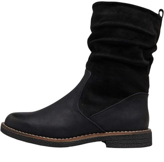 Board Angels Womens Ruched Mid Boots Black