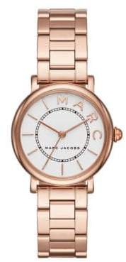 Marc Jacobs Classic Rose Goldtone Stainless Steel Three-Link Bracelet Watch