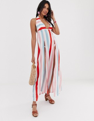 Glamorous beach dress in stripe