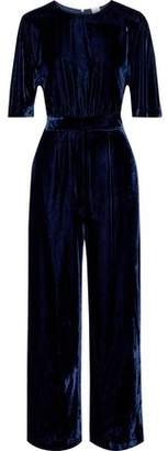 Iris & Ink Zara Gathered Velvet Wide-leg Jumpsuit