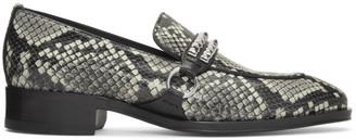 Giuseppe Zanotti Black and Grey Snake Studs Loafer