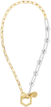 Givenchy Gold and Silver Short Hexagonal Hook and Chains Necklace