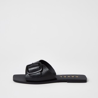 Ravel River Island Womens leather buckle strap Mule sandal