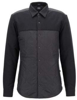 BOSS Hugo Regular-fit heavyweight shirt quilted panels M Black