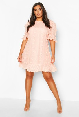 boohoo Plus Dobby Mesh Ruffle Smock Dress