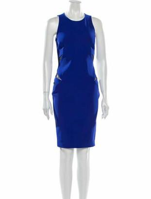 Thierry Mugler Crew Neck Knee-Length Dress Blue
