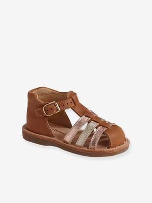 Vertbaudet Leather Sandals for Baby Girls, Closed Toe