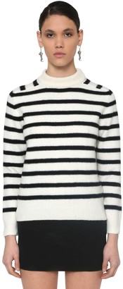 Saint Laurent Striped Intarsia Wool Knit Sweater