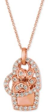"LeVian Le Vian Nude Diamond Heart & Paw 20"" Pendant Necklace (1/3 ct. t.w.) in 14k Rose Gold"