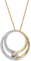 Effy Duo by Diamond Interlocked Circle Pendant Necklace (1/2 ct. t.w.) in 14k Gold and White Gold