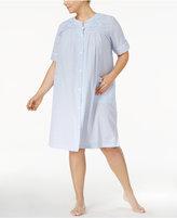 Miss Elaine Plus Size Seersucker Snap-Front Robe