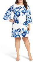 Eliza J Plus Size Women's Floral Bell Sleeve Shift Dress
