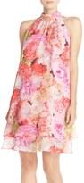 Eliza J Floral Chiffon Trapeze Dress (Petite)