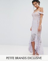 Jarlo Petite All Over Lace Off Shoulder Fishtail Dress