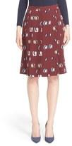 Nordstrom Oval Print Pleated Silk Twill Skirt