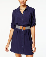 Amy Byer Juniors' Belted Roll-Tab Shirtdress